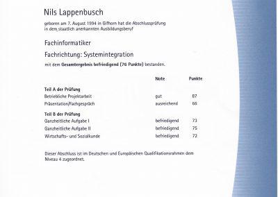 IHK-Abschlusszeugnis – Fachinformatiker für Systemintegration