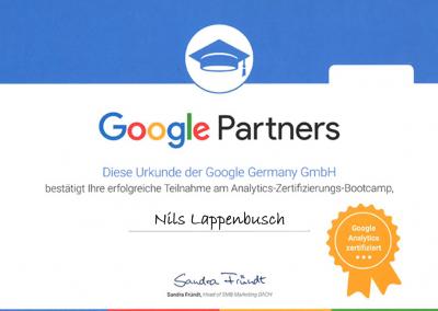 Google Analytics Zertifizierung