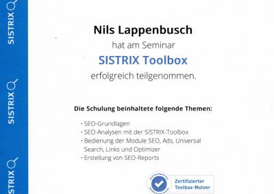 SISTRIX Toolbox Zertifikat